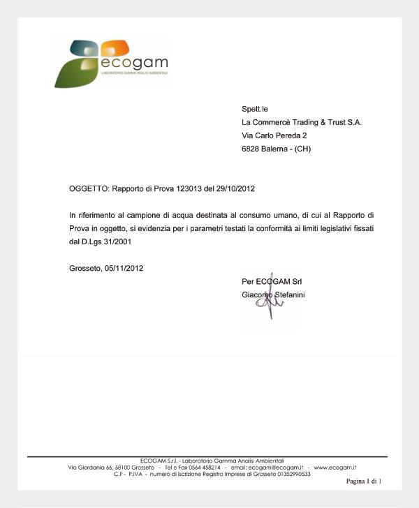 Dichiarazione di conformità al D.Lgs 31/2001